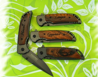 Engraved Pocket Knife ( Set of 1 ) Boy scout Knife , Monogram Engraving ,Groomsman Gift ,Camping Knife - Hunting Knife
