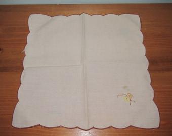 Vintage Embroidered Womens Handkerchief Cream with Flower