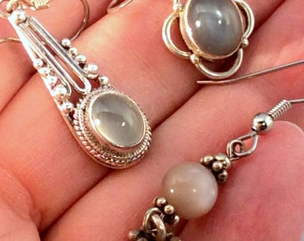 Pink, Grey or White Moonstone or Sunstone Earrings.  Sterling Silver,  11 to choose from! free US ship
