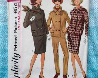 1960s Simplicity 6129 Sewing Pattern Ladies Misses Pencil Skirt Double Breasted Pea Coat Jacket Pockets Collar Slim Pants Size 14 Bust 34