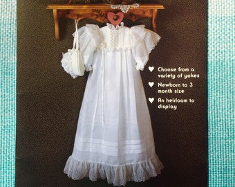 Gooseberry Hill Country Craft Patterns 125 Sewing Pattern Christening Gown and Bonnet Baptism Baptismal Gown Baby Size Newborn 3 months 3 mo