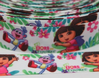 Dora Character Ribbon 7/8 Inch Grosgrain Ribbon by the Yard for Hairbows, Scrapbooking, and More!!