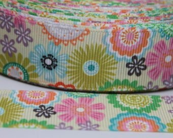 Retro Flower 1 inch Grosgrain Ribbon by the Yard for Hairbows, Scrapbooking, and More!!