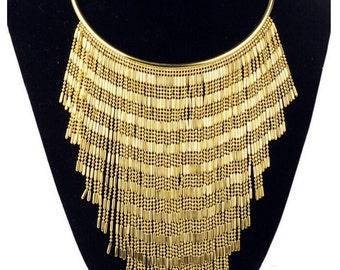Gold Plated Fringe Necklace