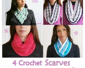 1 pattern FREE. 4 Crochet Cowls / Circle Scarves Patterns. 2 lacy cowls+ 1 mesh cowl+ 1 reversible circle scarf _ PCS3