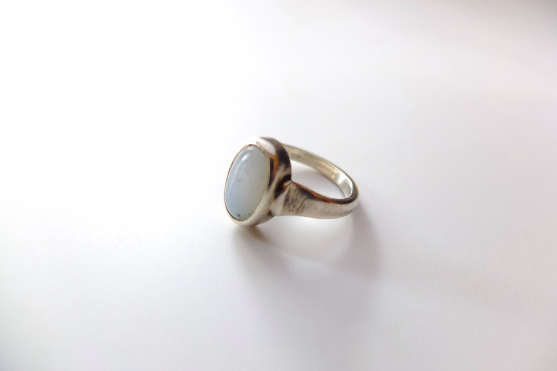 retro agate ring grey blue silver ring ethnic healing