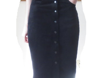 Vintage 90s Black Suede Maxi Skirt GOTH