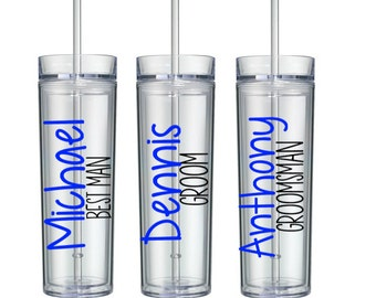 Personalized Groom, Best Man, Groomsmen and Ring Bearer Acrylic Tumblers, Mustache Tumblers, Bridal Party Tumbler Gifts, Groomsmen Gifts