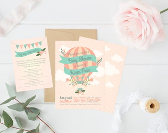 Floral Hot Air Balloon Baby Shower Invitation **envelopes included**