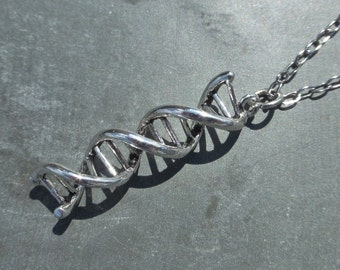 Silver DNA Pendant Necklace - Choice Of Chain Finish & Length - Matching Earrings Available - Biology - Genetics - Scientist - Student