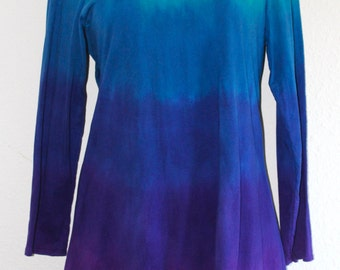 READY TO SHIP Ombre Asymmetrical Tunic, hand dyed, size Large