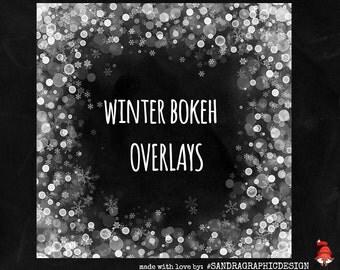 Winter bokeh overlay, digital overlays for photo art, scrapbook layouts, etc, with bokeh effect (P06)