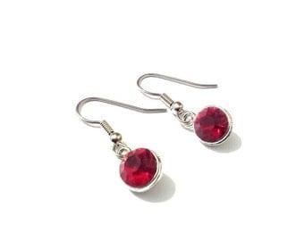 Birthstone earrings,  red earrings,  January earrings,  silver earrings,  birthstone jewelry, garnet earrings