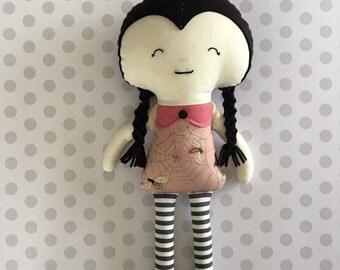 Wednesday Inspired Cloth Doll, Doll Baby, Handmade Fabric Doll, Rag Doll, Goth Doll, Modern Doll
