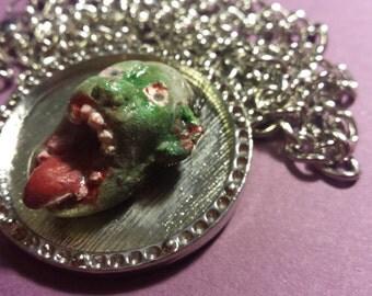 Zombie Head Pendant Necklace