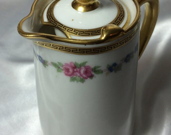 Demitasse Pot, B&Co Limoges;  L. Bernardaud Co, William H. Plummer,NY, greek key