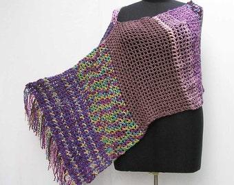 Purple crochet poncho, asymmetrical poncho, purple crochet wrap, purple crochet shawl, purple poncho, lilac poncho, lavender mauve poncho