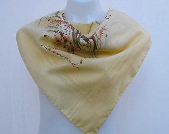 Vintage Leonardi scarf, vintage scarf, Italian scarf, floral scarf, butter yellow scarf deep cream scarf, flower scarf, retro designer scarf