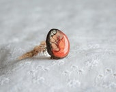 Statement mystical woodland ring jewelry, original handpainted wood ring, large red gem ring, unique rings for her, OOAK adjustable ring