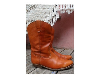 1970s cowboy and Western natural tan leather  BOOTS // size eu 45 // 70s natural tan leather cowboy boots