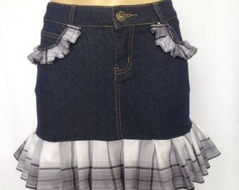 Denim Skirt with Plaid Lace Trim