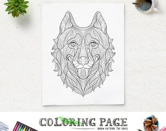 Printable Coloring Pages Husky Head Animal Page Adult Book Antistress Zen