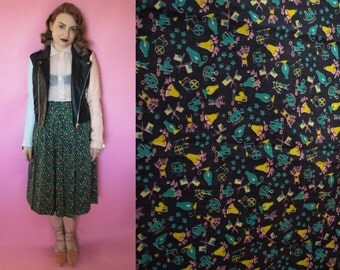 1950s Skirt / 50s Novelty Print Skirt / 1950s Colonial Print Cotton Skirt / Circle Skirt Full Skirt Rockabilly Pinup VLV