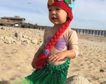 Mermaid Themed Gift, Halloween Ariel Costume, Mermaid Hair, Mermaid Costume, Ariel Hat, Mermaid Gift for Girls, Christmas, Halloween Costume