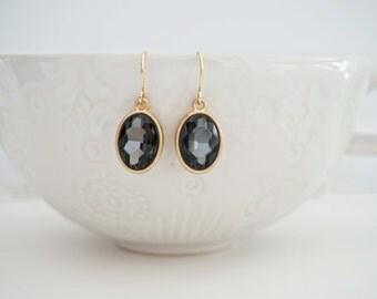 SALE // Dark Grey and Gold Gem Earrings