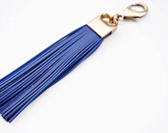 Blue Genuine Leather and Brass Tassel Keychain