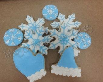 12 Winter Wonderland Sugar Cookies - Winter Christmas Cookies - Winter Party Sugar Cookies