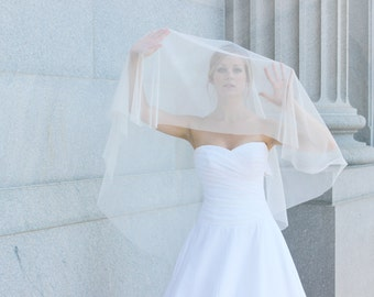 GRACE | Ivory English Net Circle Veil, Elbow length veil