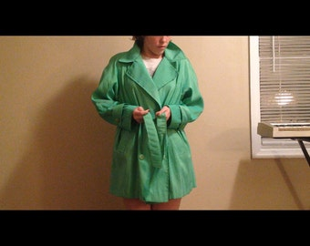 90s Iridescent Shiny Green Tie-waist Button-up Trench Coat sz 8 - Oversized Free Size rave, club, 1990s Party Girl wear M L XL