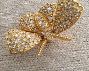 Joan Rivers Signed Vintage Flutter Winged Pave Rhinestone Brooch
