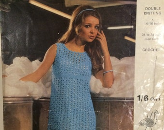 Emu Vintage Crochet Pattern (DK) Dress 1960s