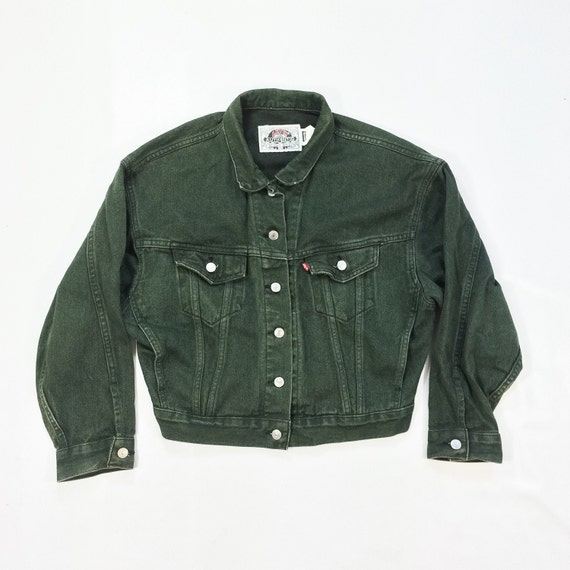80s Levi&39s GREEN Denim Jacket Mens Small by TigerStyleVintage