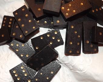 Black Wooden Dominoes Unboxed Gold Dot Hand Cut Irregular Antique