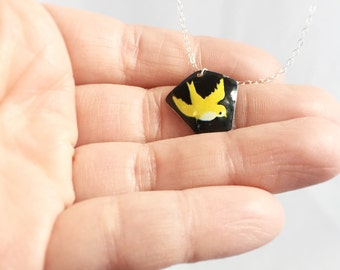 bird pendant - tin can necklace - recycled vintage jewelry