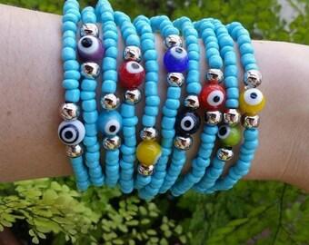 evil eye bracelet - stacking bracelets - turkish nazar - talisman jewelry - eye bracelet - good karma - protective bracelet - Lucky amulet