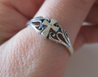 Celtic Cross Sterling silver vintage band Ring, size 10.5
