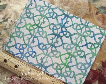 """Pattern January in Blue-Green - 5""""x7"""" Watercolor Painting"""