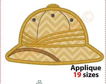 Safari Hat Applique Design. Safari hat embroidery design. Pith helmet applique. Topee applique. Safari embroidery. Machine embroidery design
