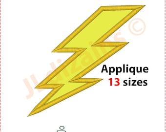 Lightning Bolt Applique Design. Lightning embroidery design. Lightning applique. Lightning bolt embroidery. Machine embroidery design.