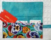 Store Card Punch Card Holder Roll Storage for Punch Cards, Credit Cards, Store Cards Gift Cards Kaffe Fasset Pansies Fabric FREE SHIP in US