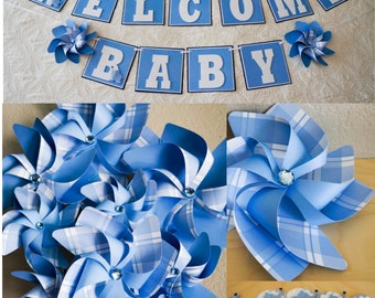 Paper Pinwheel Welcome Baby Party Set - Banner, Pinwheel Bouquet, Cupcake Flags - Larger and Beautiful Blue and White with Elephants