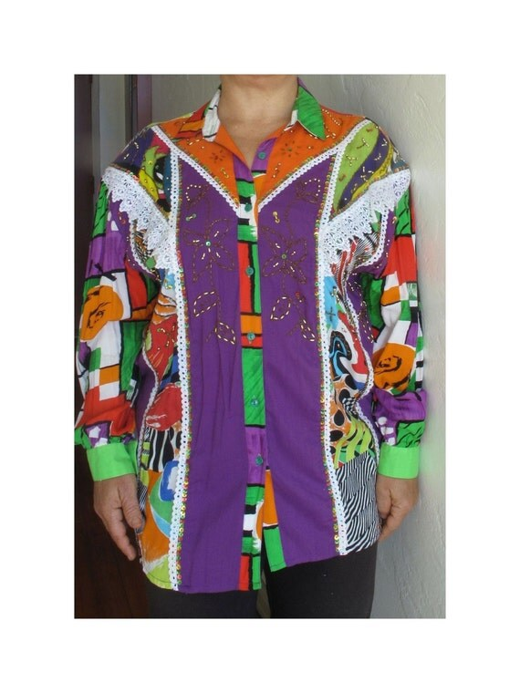 Oversized cowgirl shirt, size 18W or 2X, early 90s beaded rayon shirt, oversized rayon shirt, shoulder pads, clown shirt, costume shirt
