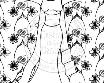 DIY Printable Coloring Page. Illustration of Lady with Hearts and Daisies in background. Inspirational. Instant Download.