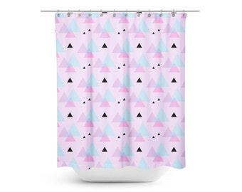 minimal triangles shower curtain kids shower curtain mod kids shower curtain purple shower