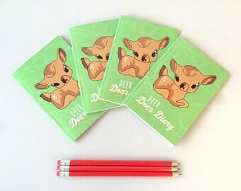 Blank notebook, deer journal, sketchbook, travellers notebook, A6 note book, bullet journal, travel journal, diary, kitsch deer, cute deer