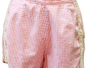 1950s Medium Shorts Retro Lolita Summer White Pink Plaid Checked Gingham Rockabilly Mod Cute Doll High Waisted Coachella Pin Up Resort Baby